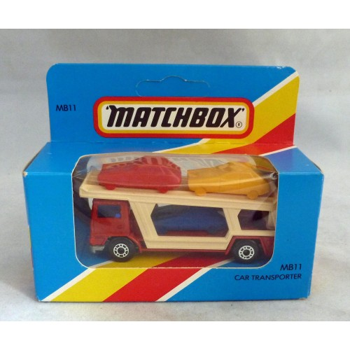 Lesney Matchbox Blue Box MB11f Car Transporter Red/Cream