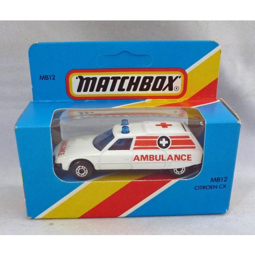 Lesney Matchbox Blue Box MB12f Citroen CX Ambulance with Black Base