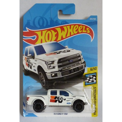 "HotWheels '15 Ford F-150 White ""HW Speed Graphics"" Long Card"