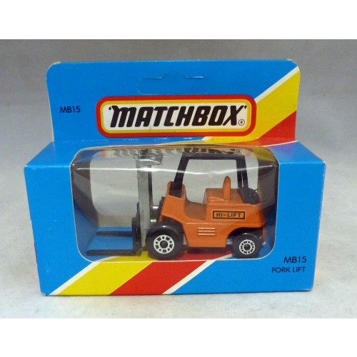 Lesney Matchbox Blue Box MB15e Fork Lift Truck Orange with Unpainted Base