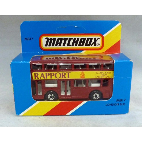 """Lesney Matchbox Blue Box MB17g Leyland Titan Bus ""Rapport"