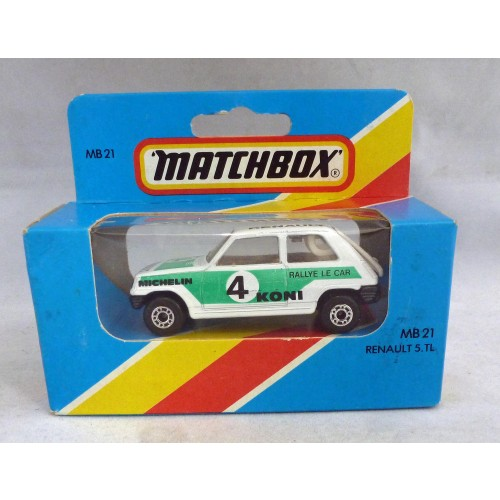 Lesney Matchbox Blue Box MB21f Renault 5 TL with Green/Black Tampos