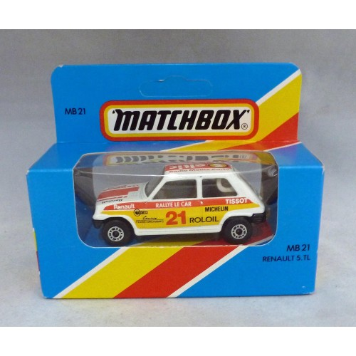 Lesney Matchbox Blue Box MB21f Renault 5 TL with Red/Yellow Tampos
