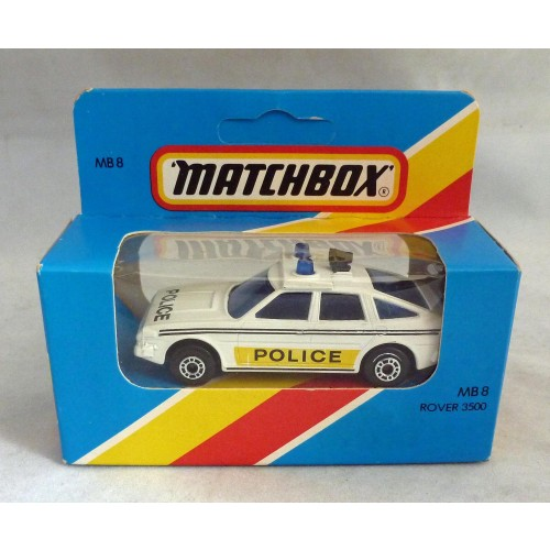 Lesney Matchbox Blue Box MB8i Rover 3500 Police Car with Black Siren