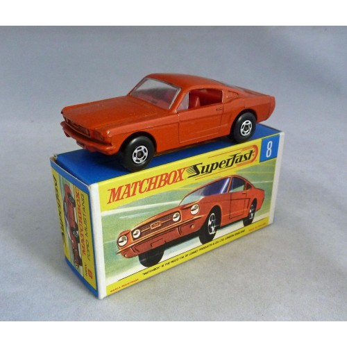 Matchbox Superfast MB8e Ford Mustang Burnt Orange with RED Interior