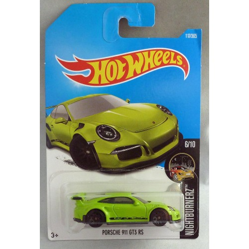 "HotWheels Porsche 911 GT3 RS ""Nightburnerz"" Lime Green Long Card"