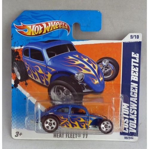 "HotWheels Custom Volkswagen Beetle Blue ""Heat Fleet"" 9/10"