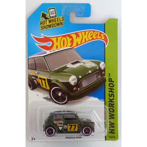 "HotWheels Morris Mini Green ""HW Workshop"" Long Card"