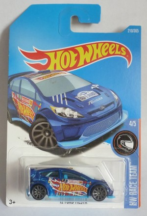 "HotWheels '12 Ford Fiesta Blue ""HW Race Team"" Long Card"