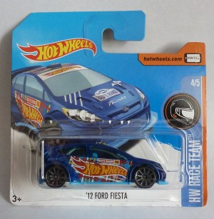 "HotWheels '12 Ford Fiesta Blue ""HW Race Team"" Short Card"