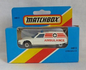 Lesney Matchbox Blue Box MB12f Citroen CX Ambulance with Silver Base