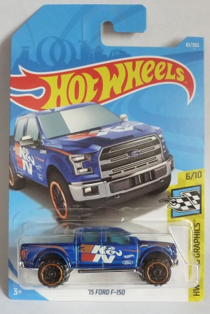 "HotWheels '15 Ford F-150 Blue ""HW Speed Graphics"" Long Card"