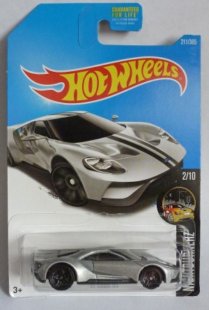 "HotWheels '17 Ford GT Silver ""Nightburnerz"" Long Card 2/10"