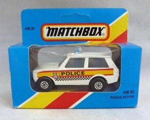 Lesney Matchbox Blue Box MB20e Range Rover Police White