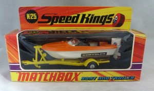 Matchbox Speed Kings K-25 Boat and Trailer with Chrysler Labels