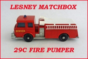 Matchbox Toys MB29 Fire Pumper 29c