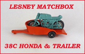 Matchbox Toys MB38 Honda Motorcycle & Trailer 38c