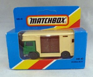 Lesney Matchbox Blue Box MB40e Horse Box Green with Brown Door [C]