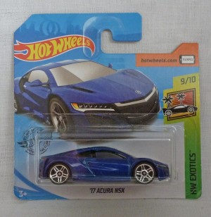 "HotWheels '17 Acura NSX Blue ""HW Exotics"" 9/10 Short Card"