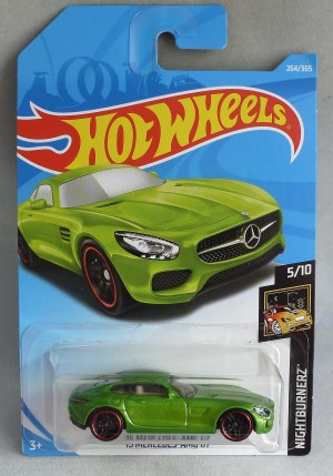 "HotWheels '15 Mercedes AMG GT Green ""Nightburnerz"" 5/10 Long Card"