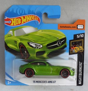 "HotWheels '15 Mercedes AMG GT Green ""Nightburnerz"" 5/10 Short Card"