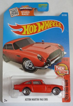 "HotWheels Aston Martin DB5 Red ""Then and Now"" Long Card 1/10"