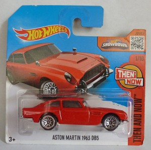 "HotWheels Aston Martin DB5 Red ""Then and Now"" Short Card 1/10"