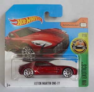 "HotWheels Aston Martin One-77 Red ""HW Exotics"" 7/10 Short Card"