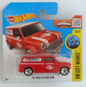 "HotWheels '67 Austin Mini Van Red ""HW City Works"" Short Card"