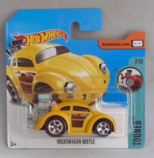 "HotWheels Volkswagen Beetle Yellow ""Tooned"" 7/10"
