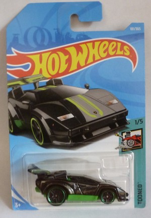 HotWheels Lamborghini Countach Metallic Black Tooned 1/5 Long Card
