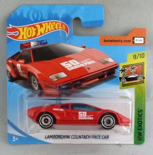 "HotWheels Lamborghini Countach Pace Car Red ""HW Exotics"" Short Card"