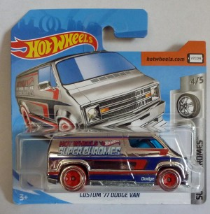 "HotWheels Custom '77 Dodge Van ""Super Chromes"" Short Card"