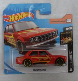 "HotWheels '71 Datsun 510 Red ""Nightburnerz"" 8/10"