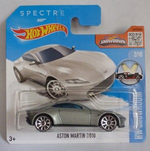 "HotWheels 007 James Bond Aston Martin DB10 SPECTRE ""HW Showroom"" Short Card 2/10"
