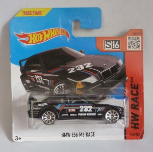"HotWheels BMW E36 M3 Race Black ""HW Race"" Short Card"