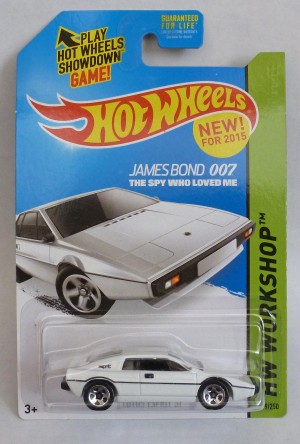 "HotWheels 007 James Bond Lotus Espirit ""The Spy Who Loved Me"" Long Card ""HW Workshop"""