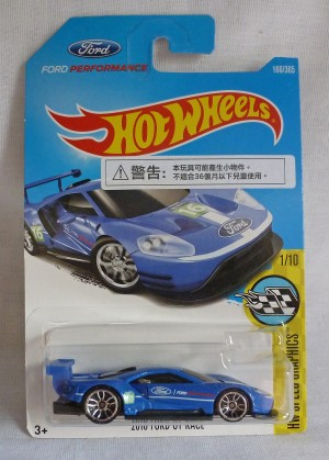 "HotWheels 2016 Ford GT Race Blue ""HW Speed Graphics"" Long Card"