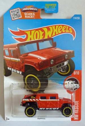 "HotWheels Humvee Red ""HW Rescue"" Long Card"