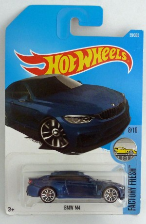 "HotWheels BMW M4 Dark Blue ""Factory Fresh"" Long Card"