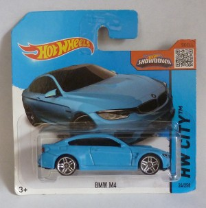 "HotWheels BMW M4 Pale Blue ""HW City"" Short Card"