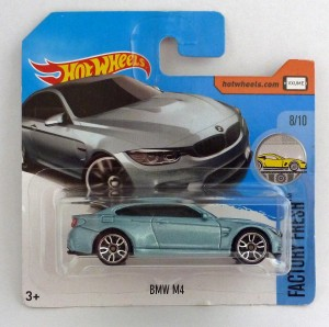 "HotWheels BMW M4 Steel Blue ""Factory Fresh"" Short Card"