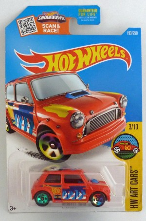 HotWheels Morris Mini HW Art Cars 3/10 Red Long Card