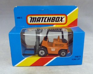 Lesney Matchbox Blue Box MB15e Fork Lift Truck Orange with Black Painted Base