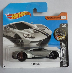 "HotWheels '17 Ford GT Silver ""Nightburnerz"" Short Card"
