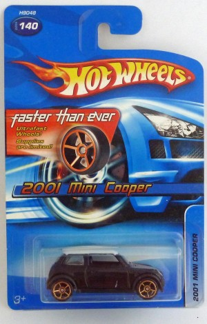"HotWheels 2001 Mini Cooper Black ""Faster Than Ever"""