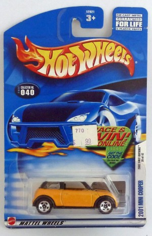 HotWheels 2001 Mini Cooper Yellow Long Card