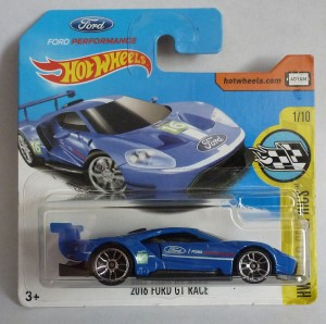 "HotWheels 2016 Ford GT Race Blue ""HW Speed Graphics"" Short Card"