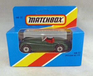 Lesney Matchbox Blue Box MB22g Jaguar XK-120 with Unpainted Base