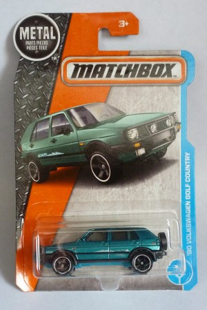 Matchbox MB4 '90 Volkswagen Golf Country Turquoise Long Card